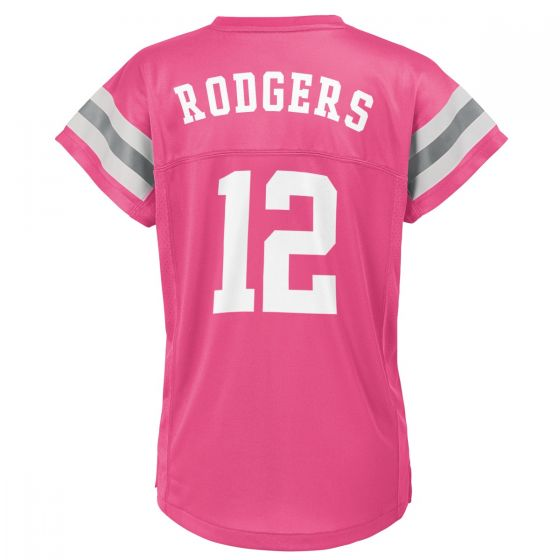Packers Girls' #12 Aaron Rodgers Pink Jersey Top