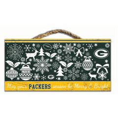 Packers Merry & Bright Wood Sign