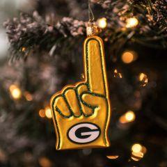 Packers Blown Glass Foam Finger Ornament