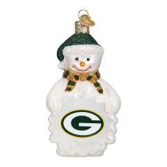 Packers Blown Glass Snowman Ornament