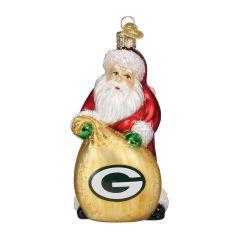 Packers Blown Glass Santa Bag Ornament
