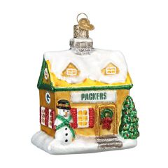 Packers Blown Glass Cabin Ornament