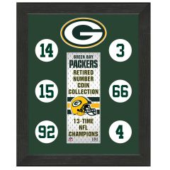 Packers Retired Number Coin Display Frame