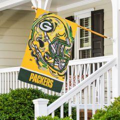 Packers Helmet Art House Flag