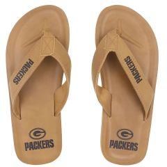 Packers Men's Tan Contour Flip Flops