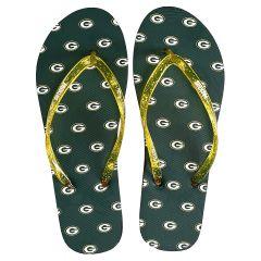 Packers Women's Glitter Thong Flip Flops
