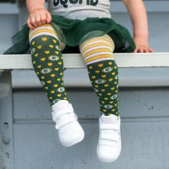 Packers Kids' Striped Tights With Hearts