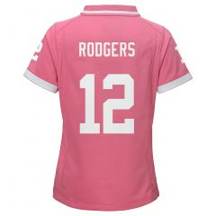 Packers #12 Aaron Rodgers Girls Pink Jersey