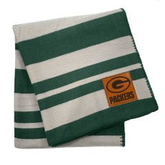 Packers Faux Leather Patch Stripe Throw Blanket