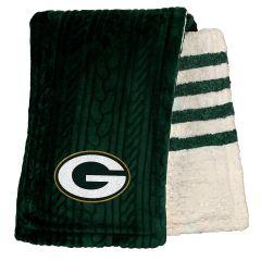 Packers Embossed Sherpa Stripe Throw Blanket