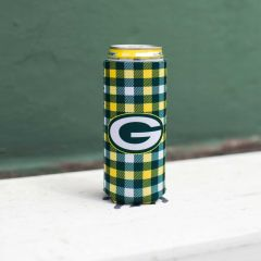 Packers Plaid Slim Can Cooler