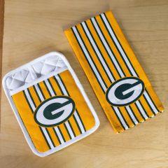 Packers Striped Oven Mitt & Kitchen Towel Set