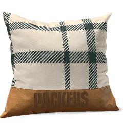 Packers Plaid & Faux Leather Decor Pillow