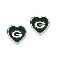 Packers Heart Charm Post Earrings