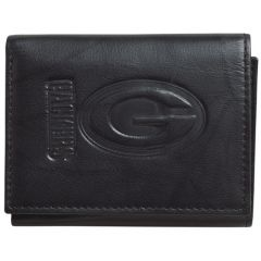 Packers Embossed Black Leather Tri-Fold Wallet