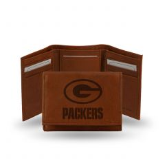 Packers Embossed Dark Brown Leather Trifold Wallet