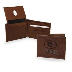 Packers Embossed Dark Brown Leather Billfold