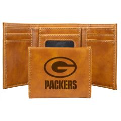 Packers Laser Engraved Leather Tri-Fold Wallet