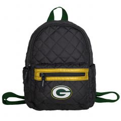 Packers Women's Black Quilted Mini Backpack