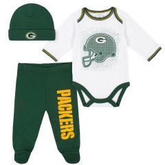 Packers Infant 3-Piece Bodysuit, Pant & Cap Set