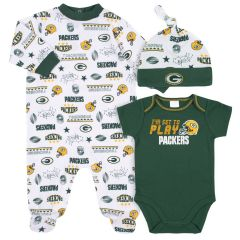 Packers Infant 3-Piece Creeper, Cap & Sleeper Set