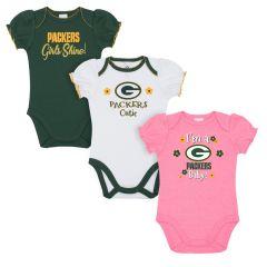 Packers Newborn Girls' 3-Pack Bodysuit Set