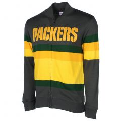 Packers Wordmark Stripe Zip Sweater
