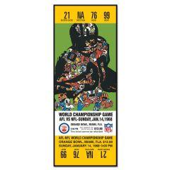 Packers Super Bowl II Ticket Replica Wood Sign