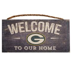 Packers Distressed Welcome to Our Home Sign