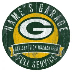 Packers Personalized Garage Circle Wood Sign