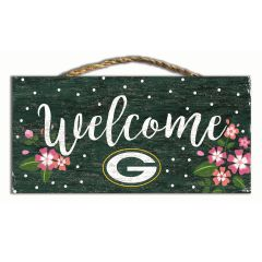 Packers Welcome Floral Wood Sign