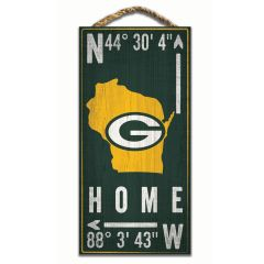 Packers Coordinates Wood Sign