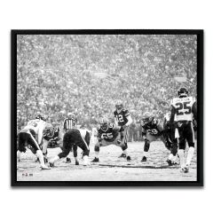 Packers Black & White Snow Game Framed Canvas