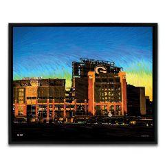 Lambeau Field South End Zone Sunset Framed Canvas