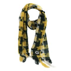 Packers Women's Checkered Woven Blanket Scarf