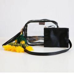 Packers Poppy Black Tassel Clear Bag