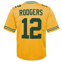 #12 Aaron Rodgers Youth Gold Jersey