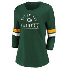 Packers Women's Bi-Blend Stripes 3/4 T-Shirt