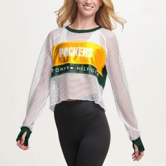 Packers Women's Tommy Hilfiger Mesh Crewneck Top