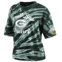 Packers Women's Erin Andrews Tie-Dye Boxy T-Shirt