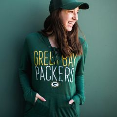 Packers Women's Lace-Up PO Hooded Top