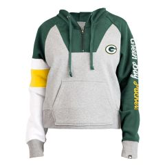 Packers Women's Color-Blocked 1/4 Zip PO Hoodie