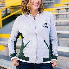 Packers Women's Erin Andrews Fleece Varsity Jacket
