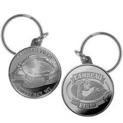 Lambeau Field Silver Tone Coin Key Tag