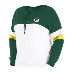 Packers Women's Plus Size Lace-Up T-Shirt