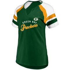 Packers Women's Plus Size Notch Contrast T-Shirt