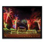 Lambeau Field Fireworks Framed Canvas