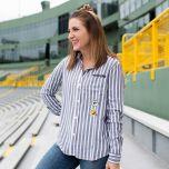 Packers Women's Erin Andrews Woven Striped Shirt