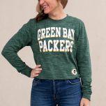 Packers Women's Reverse Space Dye Cropped T-Shirt