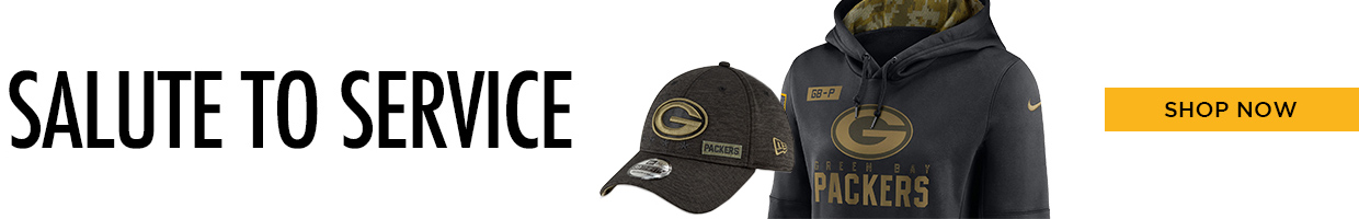 Packers Salute to Service, shop now. Link to Packers Salute to Service Page.